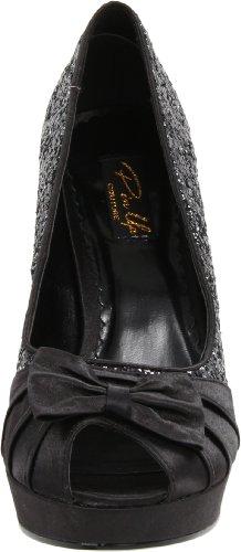 Couture Gltr Blk donna Scarpe Pinup Satin col tacco 4xUZZg