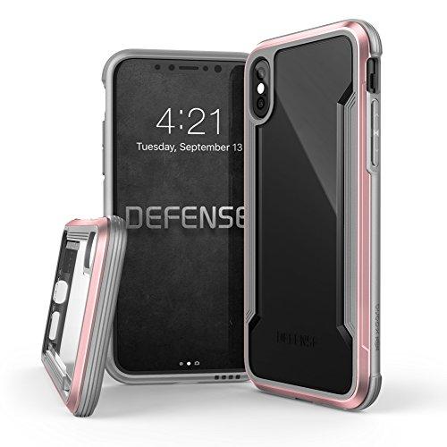iPhone X hülle, X-Doria Defense Shield Serie, Military Grade Drop getestet, eloxiertes Aluminium, TPU, Polycarbonat Schutzhülle für Apple iPhone X - Irisierend Rose Gold