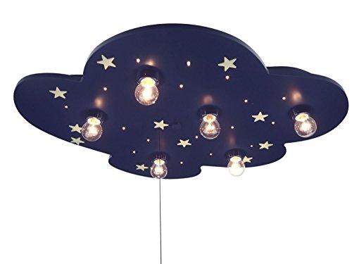 Niermann Standby 642 Deckenleuchte Wolke EEK E, blau XXL, mit floureszendierenden Sternen (6x E14 max. 40 Watt + 20 x 0,18 Watt LED Lichtpunkte, 54 x 74 x 8 cm, Zugschalter für Schlummerlichtfunktion) -