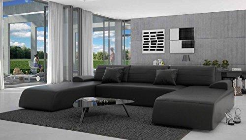 SalesFever Wohn-Landschaft mit Schlaffunktion in schwarz 310x212 cm U-Form | Lavia-U | Sofa-Garnitur aus Kunstleder mit 2 Recamieren | Couch ausziehbar für Wohnzimmer schwarz 310cm x 212cm