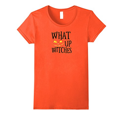 MCVXV ZY What up Witches T Shirt Funny Scary Halloween TShirt Orange Female  Large