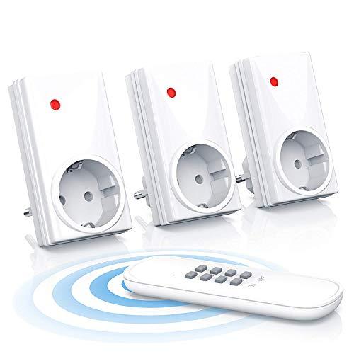 Cajas de enchufe con control remoto Juego (3+1) - incl. 1x mando a distancia para máx. 4 enchufes - Estándar IP20 para uso en interiores - Indicación de función LED - Cerradura a prueba de niños - Alcance máximo de radio: aprox. 25m
