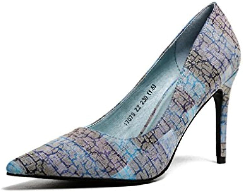 YAFAN 2018 talons hauts hauts hauts chaussures féminines pointues Colorblock motif PU Fashion WildB07C8GK4MGParent a9a554