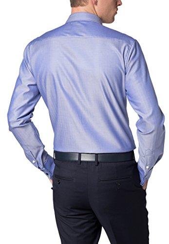 Eterna long sleeve Shirt SLIM FIT Herringbone uni Blu