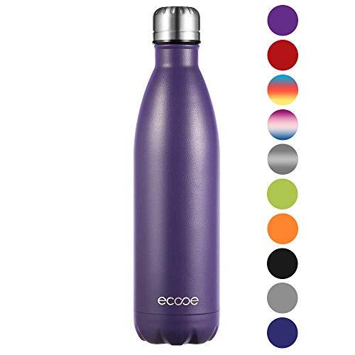 Ecooe Thermosflasche 750ml Doppelwandig Trinkflasche Edelstahl Wasserflasche Vakuum Isolierflasche Lila (MEHRWEG)