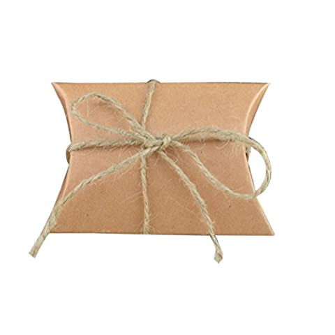 Kasit 50Pcs Kraft Paper Pillow Candy Boxes Wedding Favors and Gifts Bag Party Supplies - Hemp Rope Including