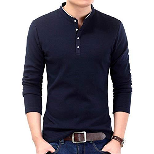 Uomo polo a maniche lunghe uomini uomini uomini taglie comode uomini polo camicie uomini uomini slim fit maglione alla moda solid abiti (color : navy, size : m)