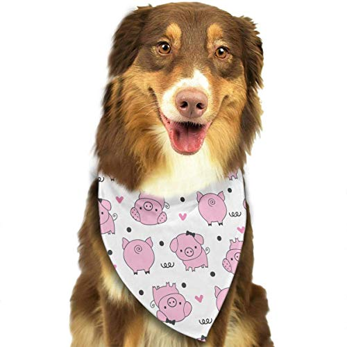 Sdltkhy Pink Cartoon Pig Triangle Bandana Scarves Accessories for Pet Cats and Dogs - Gifts