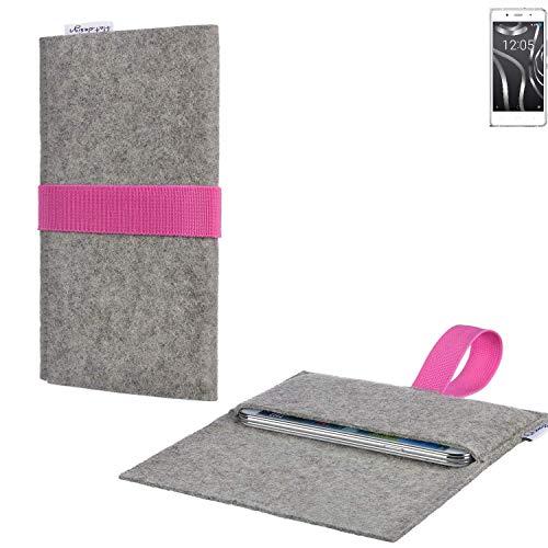 Handy Tasche AVEIRO mit Filz-Deckel und Gummiband-Verschluss für BQ Readers Aquaris X5 Plus - Sleeve Case Etui Filz Made in Germany hellgrau rosa - passgenaue Handyhülle für BQ Readers Aquaris X5 Plus