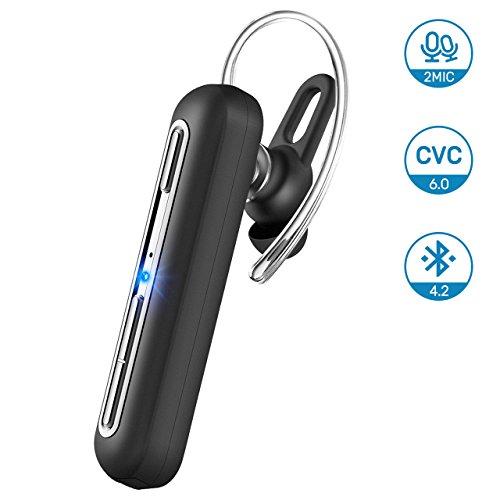 Auricular Bluetooth Inalámbrico, Mpow EM10 V4.2 Auricular Bluetooth con Micrófono Dual, Auricular con Cancelación de Ruido del Teléfono Celular con 15 Horas de Reproducción para iPhone Samsung Android (Versión Multifunción de Tres Botones)