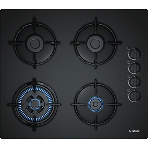 Bosch POH6B6B10 Built-in Gas Black hob - Hobs (Built-in, Gas, Glass, Black, Enamelled steel, 1000 W)