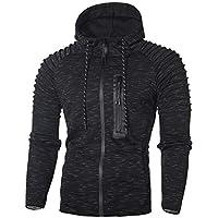 UJUNAOR Männer Hoodie Pullover Mantel Falten Spots mit Kapuze Langärmeligen Reißverschluss Sweatshirt Top