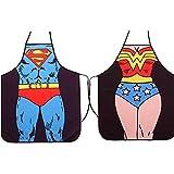 ALLY Sexy Cuisine Tablier - Superman + Wonder Woman 2 Pièces de Tabliers, Tabliers de Cuisine Créative Drôle