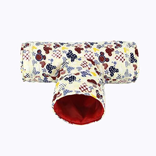 Nicedeal Hamster - Túnel de juguete para mascotas, pequeño, con dibujos animados de 3 vías, para conejos, hurones, cobayas (beige), accesorios para mascotas, mascotas, casa de mascotas