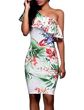 kleid damen Kolylong® Frauen trägerlosen elegant gedruckten Kleid Bodycon Sommer Mini Kleid Abendkleid Strandkleid...