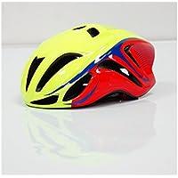 XDXDWEWERT Bicicleta Casco de Bicicleta Ajustable para Adultos Casco de ventilación de una Pieza (Amarillo + Rojo)