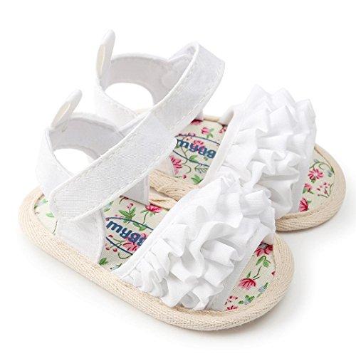 Mädchen Geschlossene Zehe Sommer Solide Blume Outdoor Sport Casual Sandalen (Kleinkind/Kleinkind) ❤️Kleinkind Jungen Mädchen Bogen Knoten Sandalen Erste Wanderer Schuhe für 0-24 Monate (Weiß, ()
