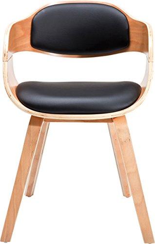 Kare 78580 Stuhl mit Armlehne Costa Beech, moderner, bequemer Esszimmerstuhl, Schwarz-Hellbraun...