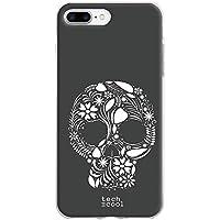 Funnytech® Funda Silicona para iPhone 7 Plus [Gel Silicona Flexible [Ultra Slim 1,5mm-Gran Resistencia] [Diseño Exclusivo, Impresión Alta Definición] [Diseño Calavera Floral Vers.5]
