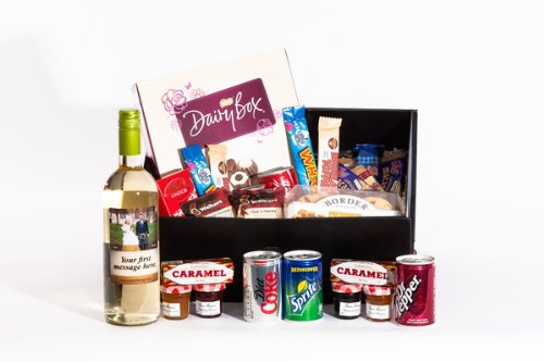Large Sweet Treats Personalised Sauvignon Blanc Hamper. Birthday, Anniversary, Engagement, Easter, Mother's day, Father's day, Valentine's day, Wedding or Christmas gift idea