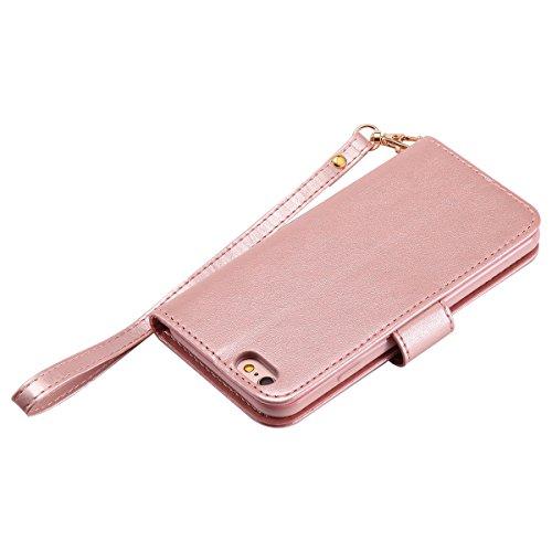 EUWLY Case Cover per iPhone 6 Plus/iPhone 6s Plus (5.5) Custodia Portafoglio PU Pelle Nottilucenti Luminosa Elegante Ragazza e Gatto con Fiori Farfalla Modello Premium Morbido PU Leather Wallet Custo Oro Rosa