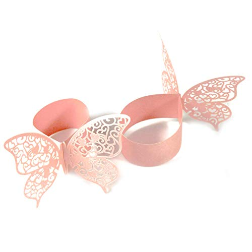 EUYOUZI 50PCS 3D Butterfly Paper Napkin Ring Serviette Holder for Decorations Wedding Party Table Communion Birthday Christmas New Year Dinner (Pink) Christmas Star Servietten