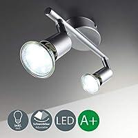 B.K. Licht Faretti LED da soffitto orientabili, plafoniera LED moderna da soffitto, include 2 lampadine GU10 da 3W, luce calda, corpo in metallo color titanio, 230V, IP20