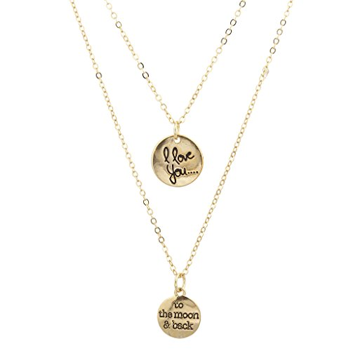 LUX Zubehör Gold Ton I Love You To The Moon And Back Layered Charm Halskette (Zwei-ton-gold-schmuck)