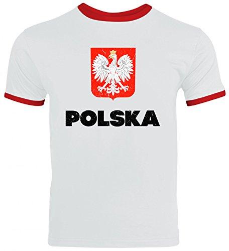 Wappen Polska Poland Warschau Länder Herren Männer Ringer Trikot T-Shirt Flagge Polen, Größe: XL,White/Red