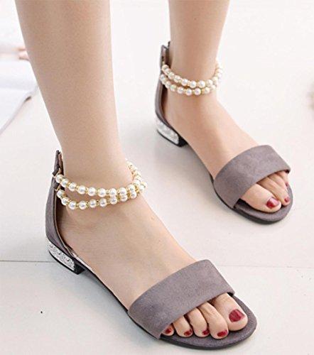 fermoir perle talons bas sandales à bout ouvert mot après sac à fermeture éclair avec des sandales plates sandales femmes Grey