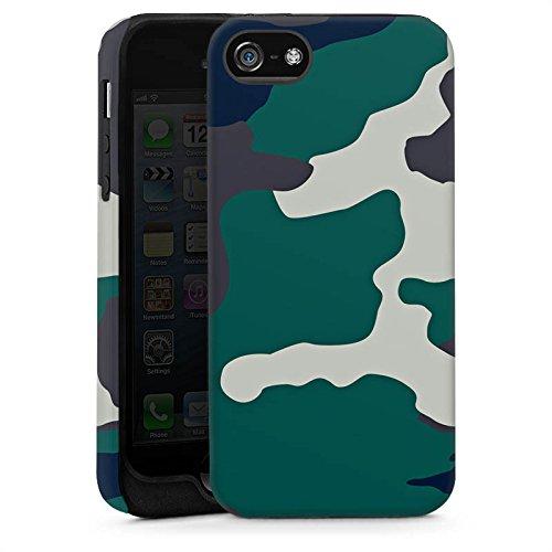 Apple iPhone 5 Housse Étui Silicone Coque Protection Camouflage Armée allemande Motif de camouflage Cas Tough brillant