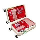 Juego de organizador de equipaje Weekender 7 Establezca el valor de los cubos de embalaje a prueba de agua para el equipaje Organizador de viaje Bolsas de compresión Maleta para la ropa (Color: Azul,