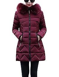 HX fashion Donna Piumini Lunga Parka Invernale con Cappuccio in Pelliccia  Sottile Elegante 7d332fcf820