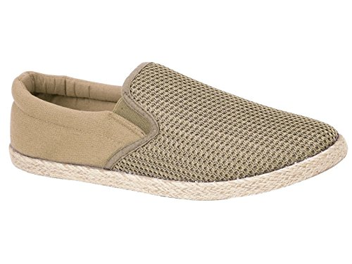 Mens Toledo Canvas Slip On Espadrille Plimsoll Casual Rope Pumps Loafer Deck Trainers Shoes Size 7-12 (UK 10, Sand)