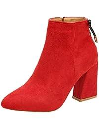 Logobeing Botas de Mujer con Punta de Cabeza Gruesa Botines de Martin Botas  con Tobillo Clásica Moda Zapatos… 397769c8b084