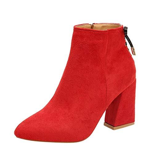 Logobeing Botas de Mujer con Punta de Cabeza Gruesa Botines de Altas Botas con Tobillo Clásica Moda Zapatos de Mujer (39, Rojo)