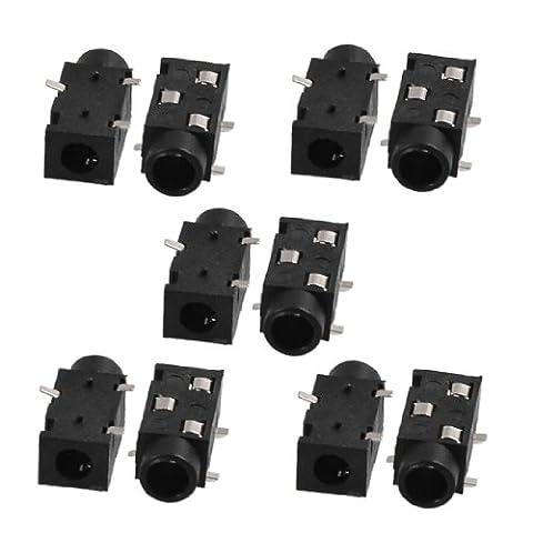 sourcingmap® 10 Pcs SMT 3 Broches 3.5mm Femelle Stereo Jack Écouteurs Connecteur (Jack Socket Pin)