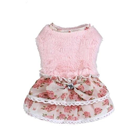 Hmeng Niedlicher Haustier Rock, Warmes Haustier Kleid Bowknot Gem Pullover Rock Welpen Kleid Mädchen Hundekleidung (S, Rosa)