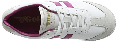 Gola Damen Harrier Leather Sneakers Weiß (White/Hot Pink)