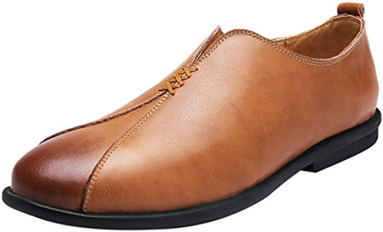 Yiiquan Herren Mokassin Stitching Loafers Rund Zehe Schuhe PU Leder Casual Mode Flach Halbschuhe