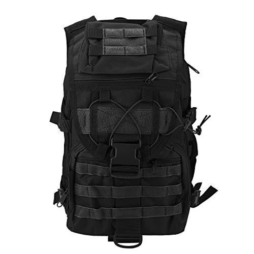 Masrin Militärische Taktische Rucksack große Tasche Rucksäcke Rucksäcke für Outdoor-Wanderlager (Schwarz)