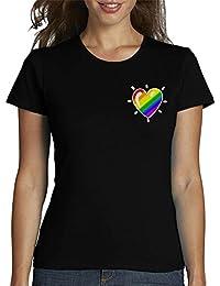 latostadora - Camiseta Corazon Arcoiris para Mujer