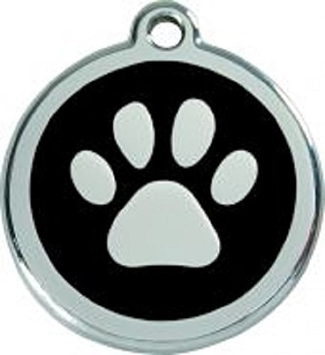 Red Dingo Hundemarke mit Pfoten-Aufdruck, 38mm, Schwarz
