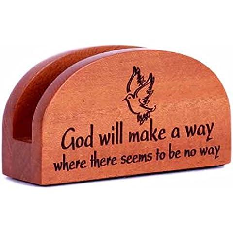 God Volontà fare a way Porta biglietto da visita in legno Christian ufficio scrivania regalo ornamento colomba - Fare Christian Ornamenti