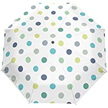 Bennigiry Paraguas con Lunares compactos y Resistente al Viento, toldo Reforzado, Apertura y Cierre
