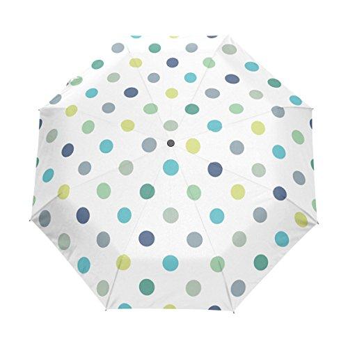 Bennigiry Paraguas con Lunares compactos y Resistente al Viento, toldo Reforzado, Apertura y Cierre automático, Varios Colores