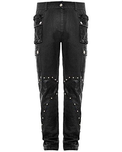 Punk Rave Uomo DieselPunk Pantaloni Jeans Nero Gotico Militare pantaloni Simil Pelle - Nero, X-Large