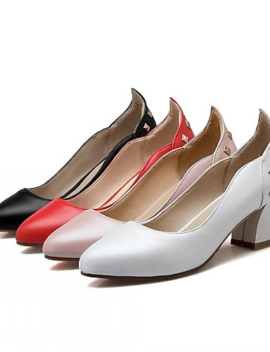 WSS 2016 Chaussures Femme-Bureau & Travail / Habillé / Décontracté-Noir / Rose / Rouge / Blanc-Gros Talon-Talons-Talons-Similicuir black-us6.5-7 / eu37 / uk4.5-5 / cn37