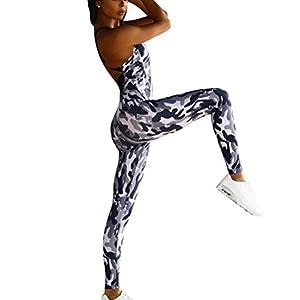 DianShao Damen Tarnung Schlank Leggings Hose Athletische Fitness Yoga Ärmellos Jupsuit