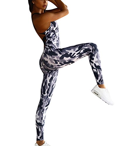 DianShao Damen Tarnung Schlank Leggings Hose Athletische Fitness Yoga Ärmellos Jupsuit S